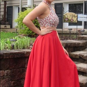 Red 2 piece Prom Dress